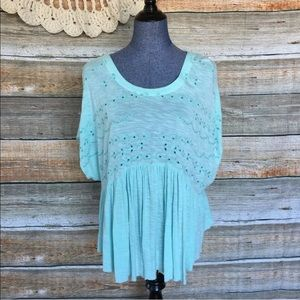 Free People Oversized Eyelet Mint Green Top